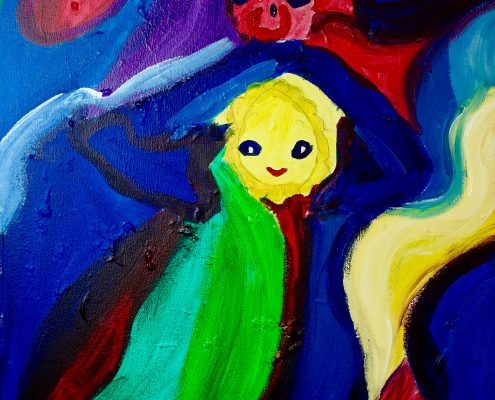 Teddy-memory of my favorite toy Zoe Yin age 6 acrylic on canvas 20 x 24