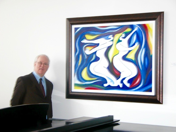 Joel Smirnoff president of Cleveland Institute of Music USA with Blue Dancer in his Institute 2010