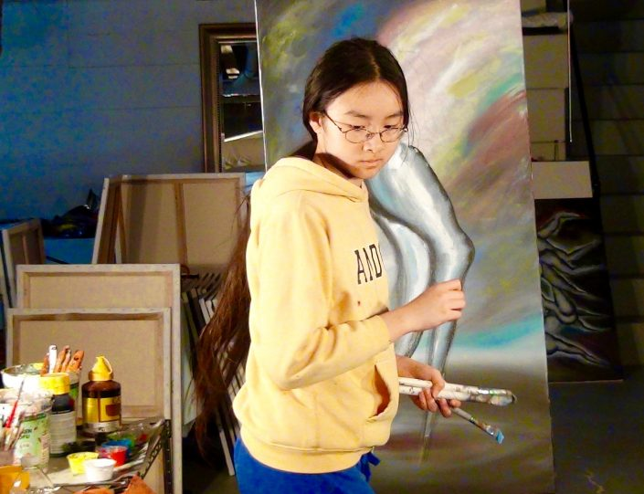 Zoe Yin in studio age 12