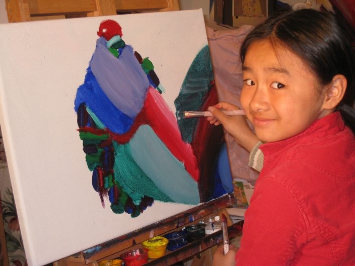 Zoe Yin in studio age 5