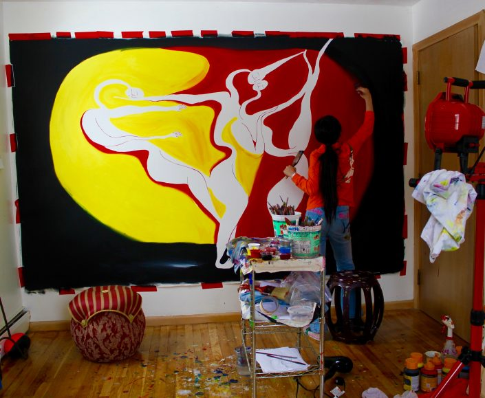 Zoe Yin Painting instudio age 9