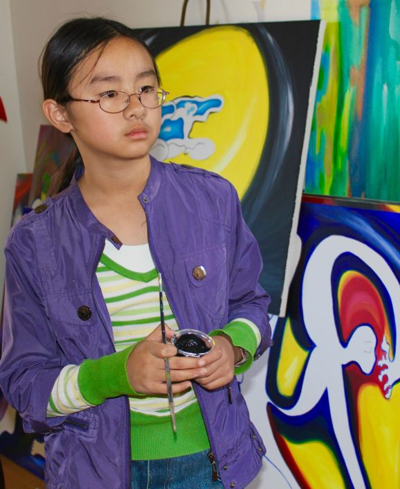 Zoe Yin in studio age 9