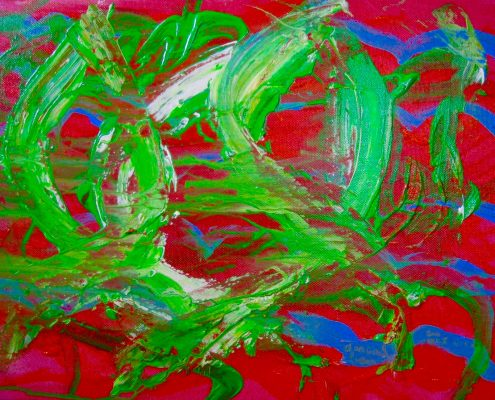 Dancing Dragon Zoe Yin age 5 acrylic on canvas 12 x 1