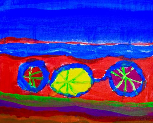 Wheel of Earth Zoe Yin age 5 acrylic on canvas 11 x 14
