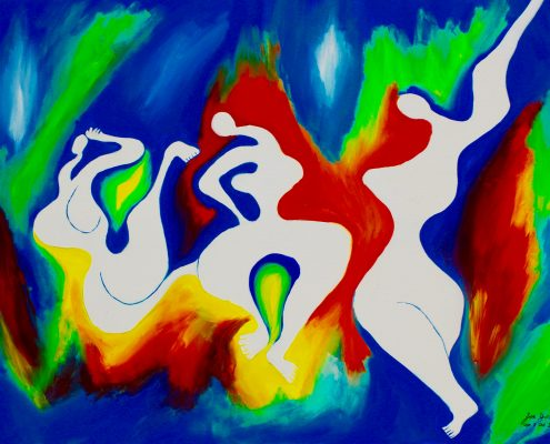 Cosmic Dancers Zoe Yin Oct. 2009 age 8 acrylic on canvas 30 x 40