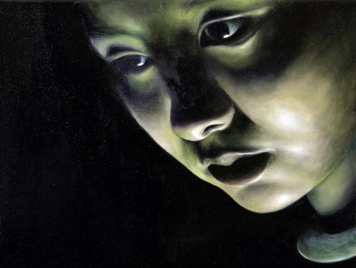 Self Portrait, oil, Zoe Yin